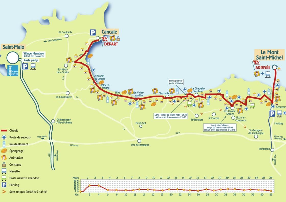 Parcours Marathon de la Baie du Mont Saint-Michel 2015