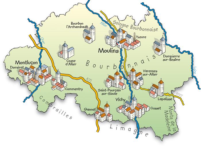 Carte de la région du Bourbonnais dans l'Allier
