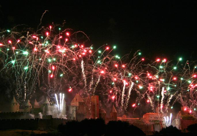 Embrasement de la cité de Carcassonne le 14 juillet