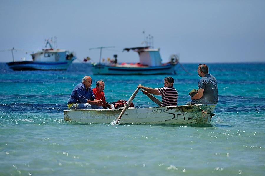 Pêcheurs sardes sur l'île de Sant'Antioco