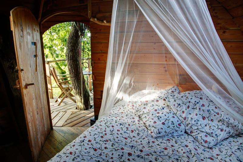 Cabane dans les arbres au Domaine des Ormes