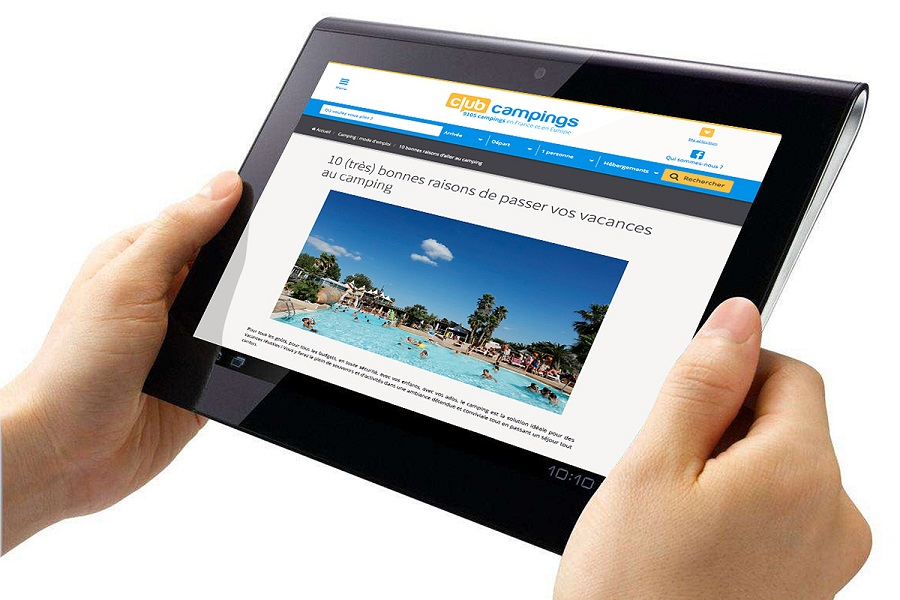 Le site Clubcampings sur tablette