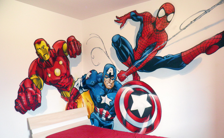 d co chambre super heros. Black Bedroom Furniture Sets. Home Design Ideas