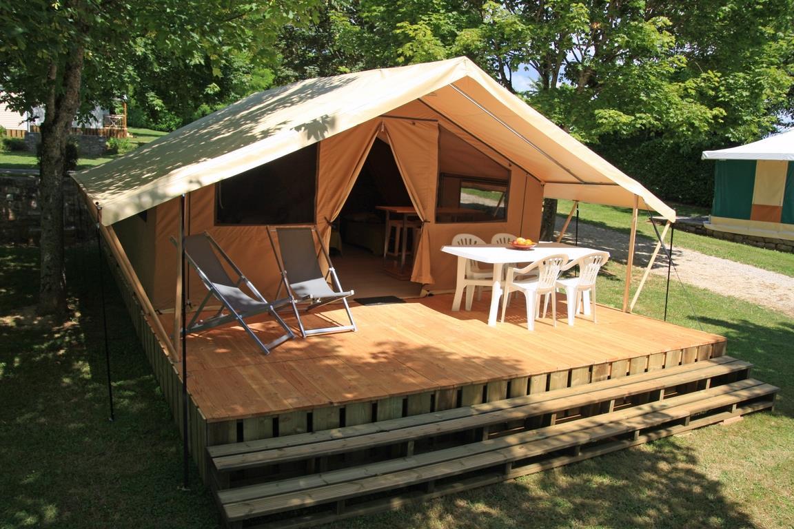 Location - Tente Lodge Nature (2 Chambres/4 Personnes) - Camping Sites et Paysages Le Ventoulou