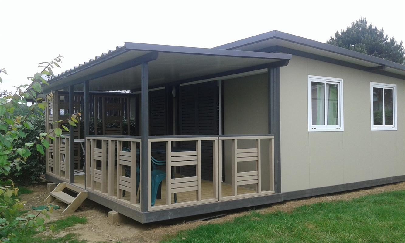 Location - Chalet Confort+ (2 Chambres) Avec Terrasse Couverte 25 À 29 M² - Camping Les Jardins de Kergal