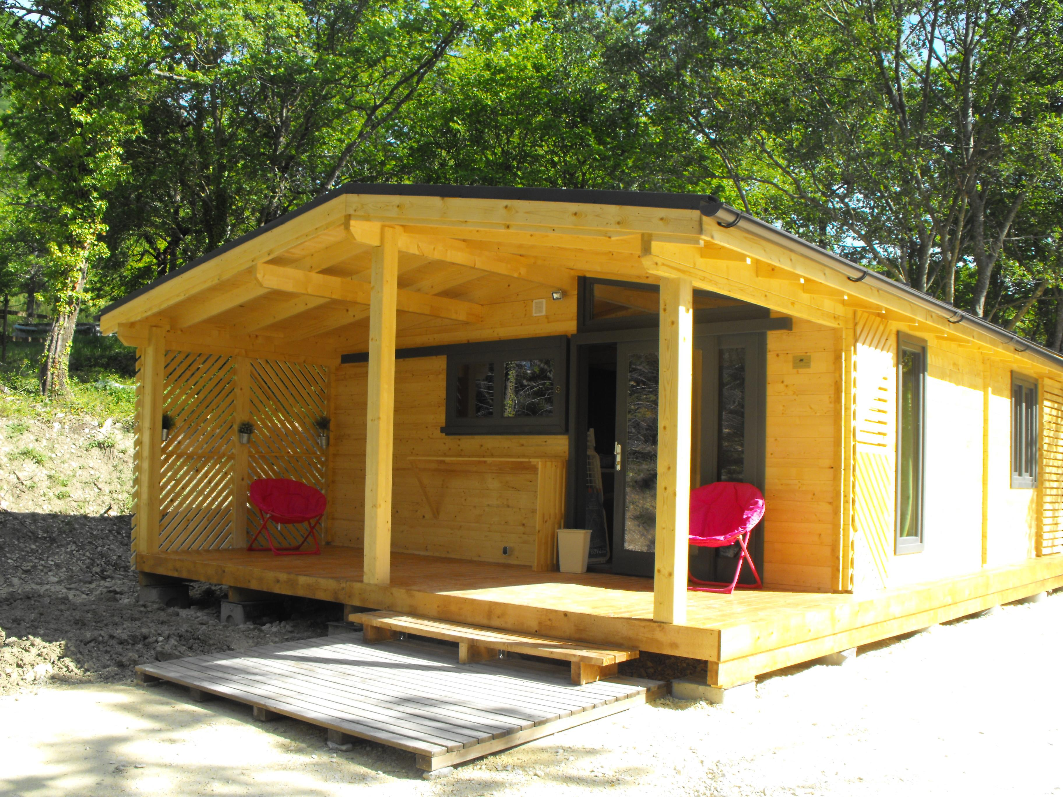 Location - Chalet Confort 2 Chambres - Camping Sites et Paysages La Source du Jabron