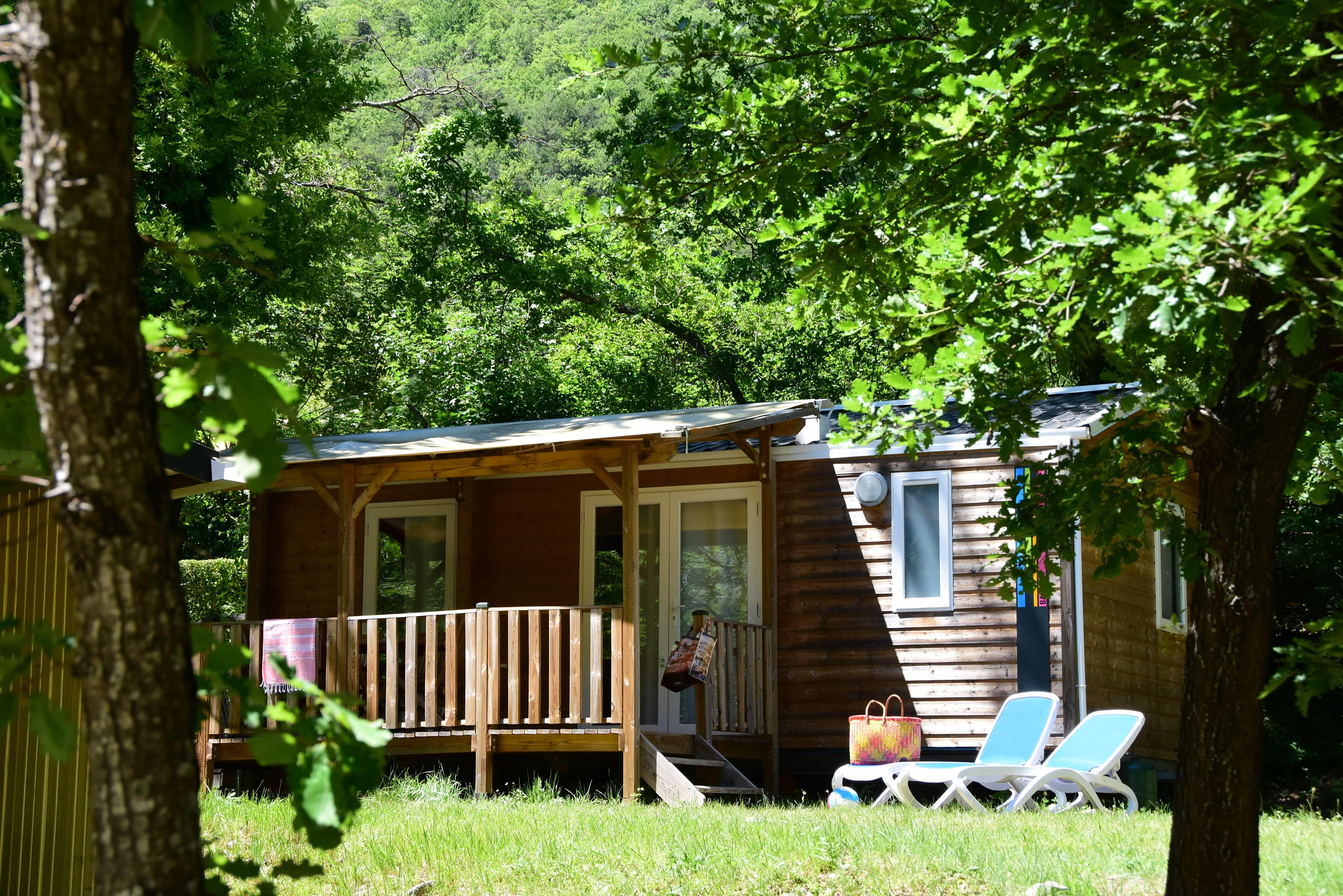 Location - Mobilwood - 2 Chambres Avec Auvent - Camping Sites et Paysages La Source du Jabron