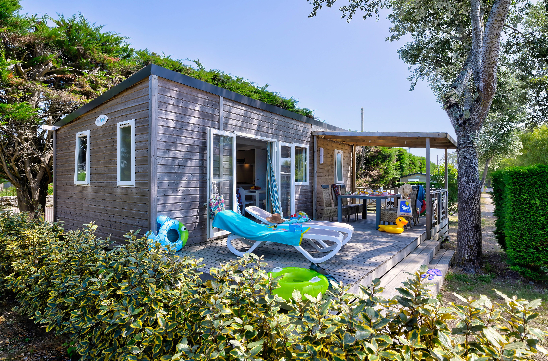 Location - Mobil-Home Bois Premium 30M² (2 Chambres) + Terrasse + Tv + Draps Inclus - Flower Camping Le Bois d'Amour