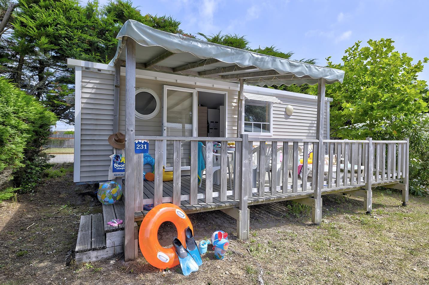 Location - Mobil-Home Confort+ 31M² (3 Chambres) + Terrasse Semi-Couverte - Flower Camping Le Bois d'Amour