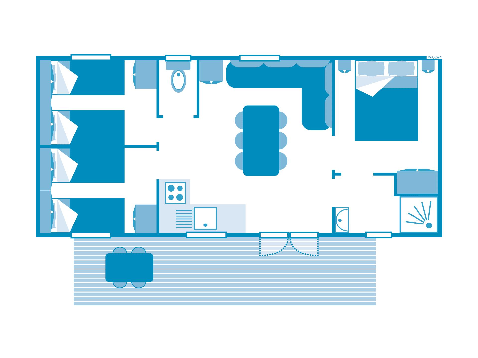 Location - Cottage 3 Chambres Climatisation*** - Camping Sandaya Les Vagues
