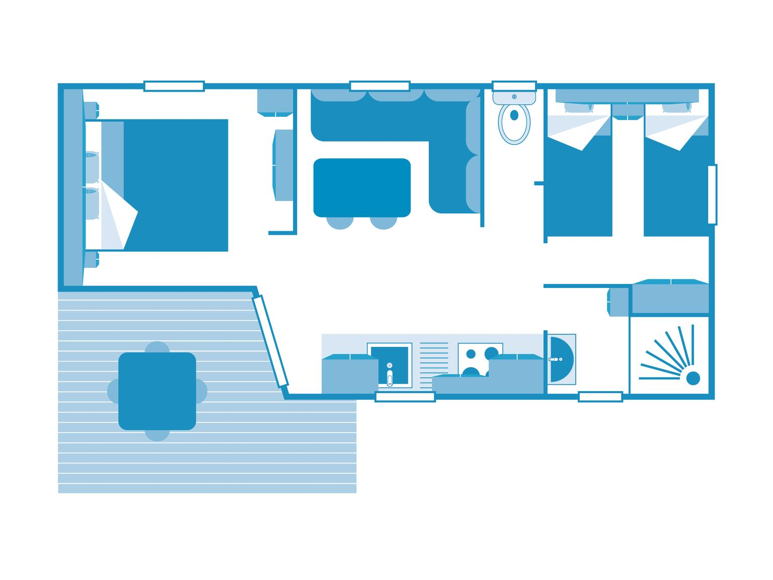 Location - Cottage 2 Chambres *** - Camping Sandaya Les Vagues