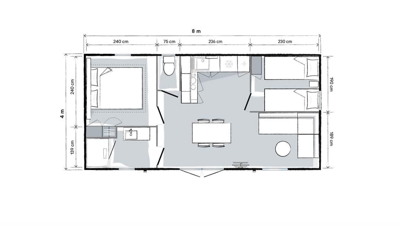 Location - Mobil Home Premium Plus 31M2 - 2 Chambres - Climatisé Zone Ensoleillee Et Pietonne - Camping Le Rochelongue
