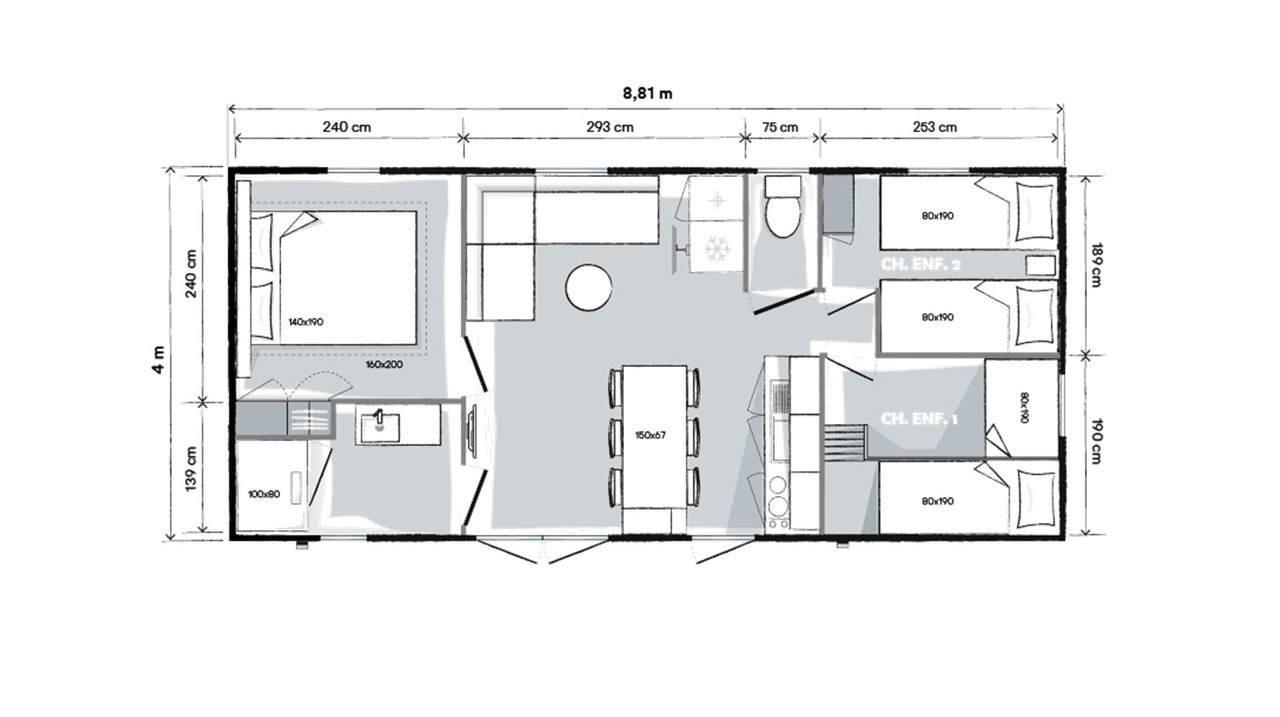 Location - Mobil Home Premium Plus  33M²  - 3 Chambres Zone Ensoleillee Et Pietonne - Camping Le Rochelongue