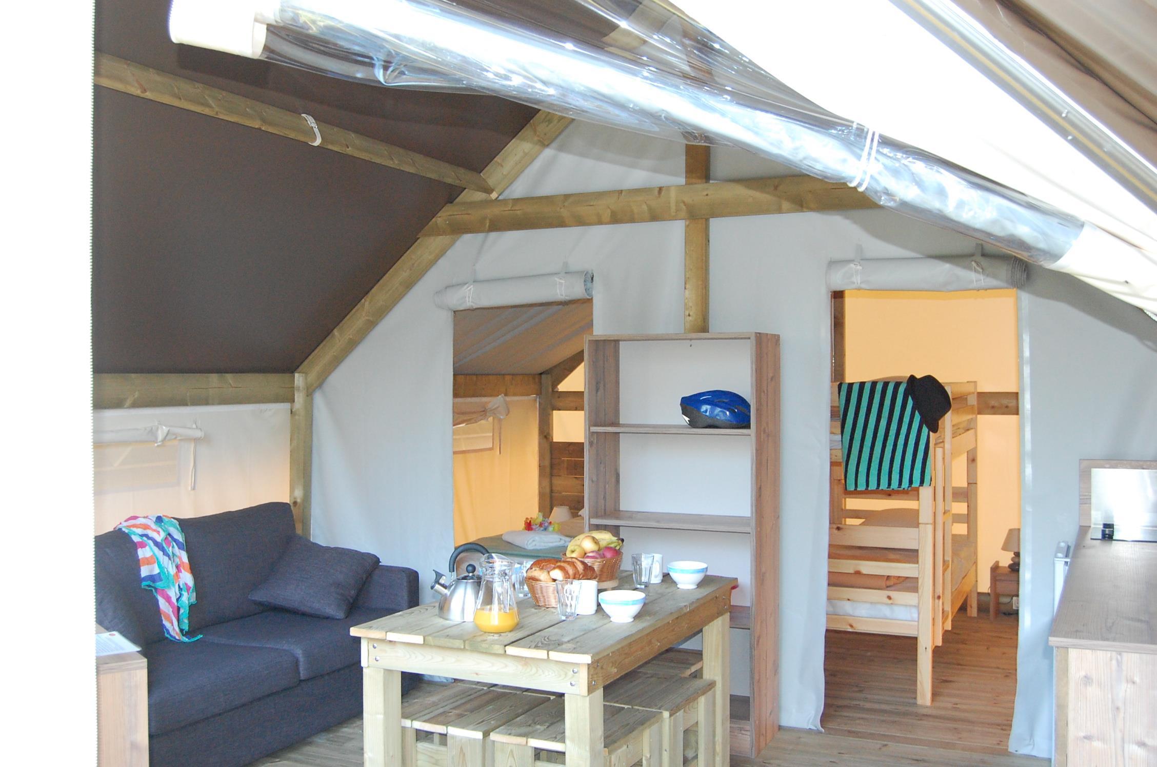 Location - Tente Meublée River Lodge 21M² (2 Chambres)** - Sans Sanitaires - Yelloh! Village Le Pré Lombard
