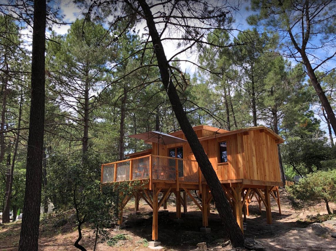 Location - Cabane Perchée Robinson 4 Personnes-2 Chambres - Camping La Simioune