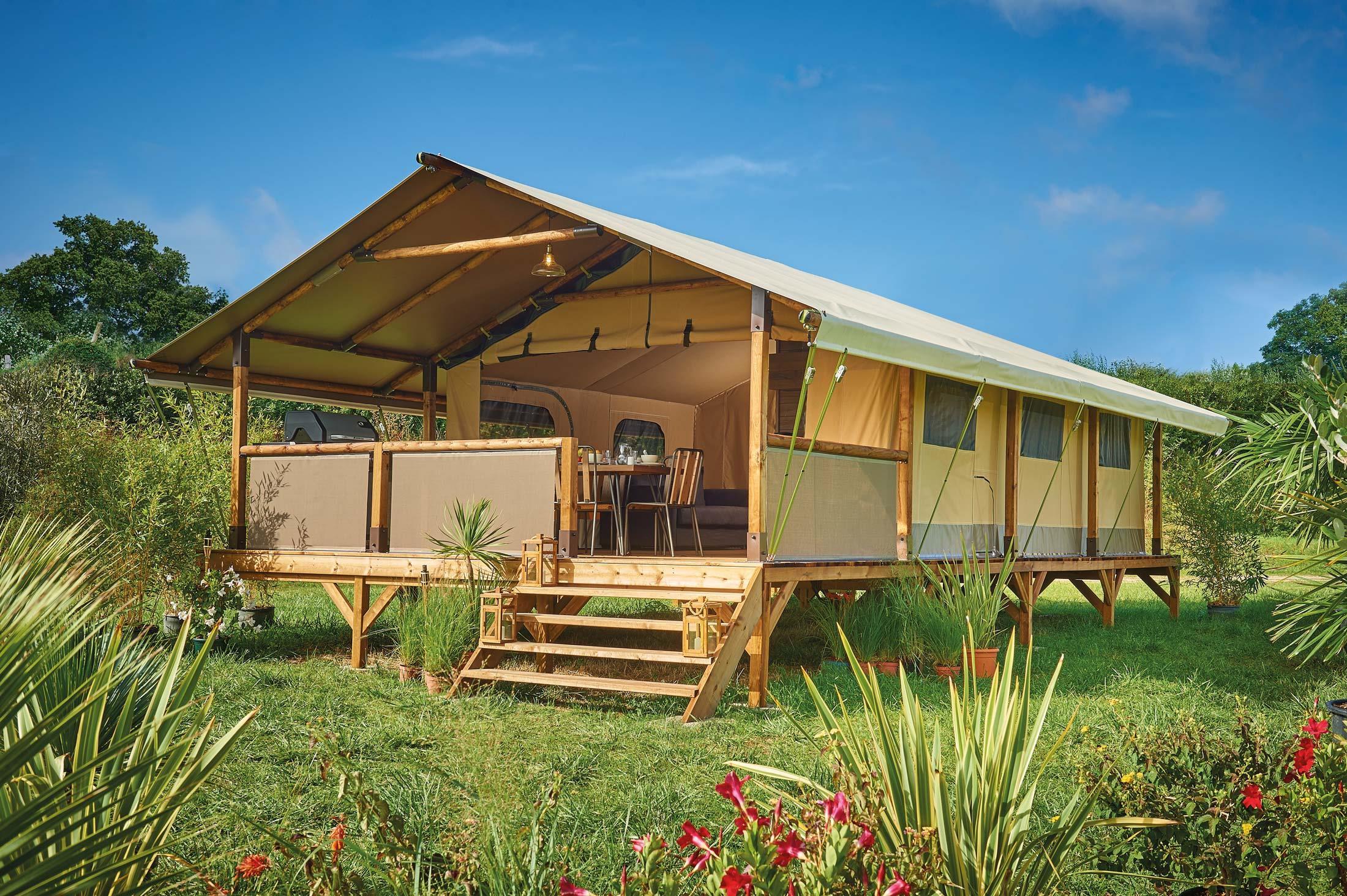 Location - Confort Tente Lodge Vintage 34.50M² (2 Chambres) + Terrasse - Sans Sanitaires - 2019 - Flower Camping Verte Vallee