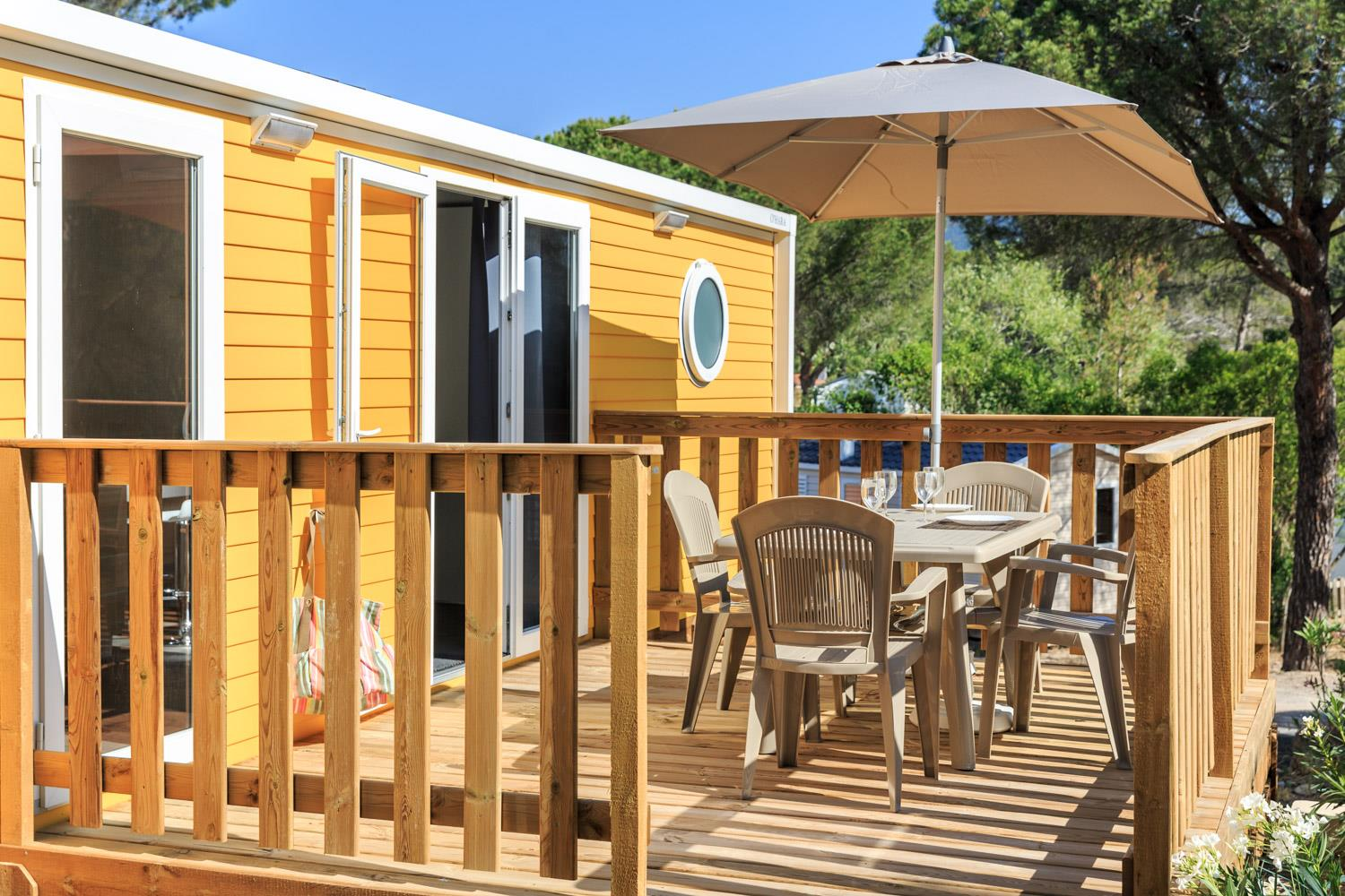 Location - Cottage Confort Yellow Corner 28 M² - 2 Chambres + Climatisation - Camping Holiday Green