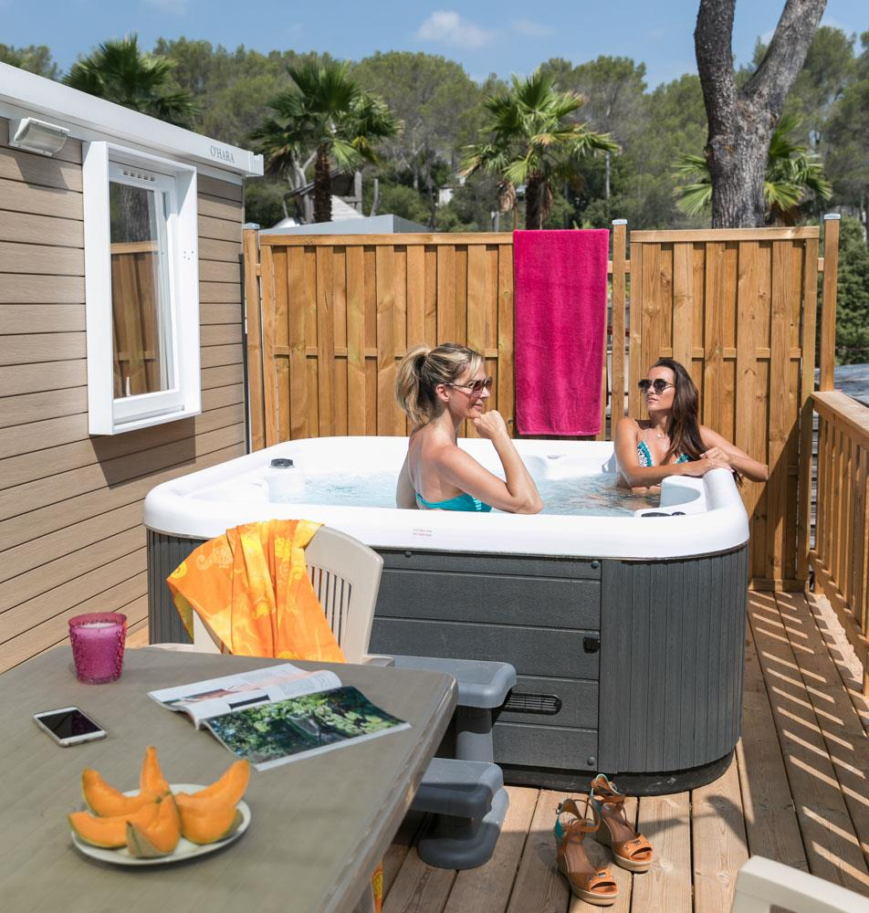 Location - Cottage Zen Luxe - 2 Chambres - Climatisation, Tv, Spa - Camping Holiday Green