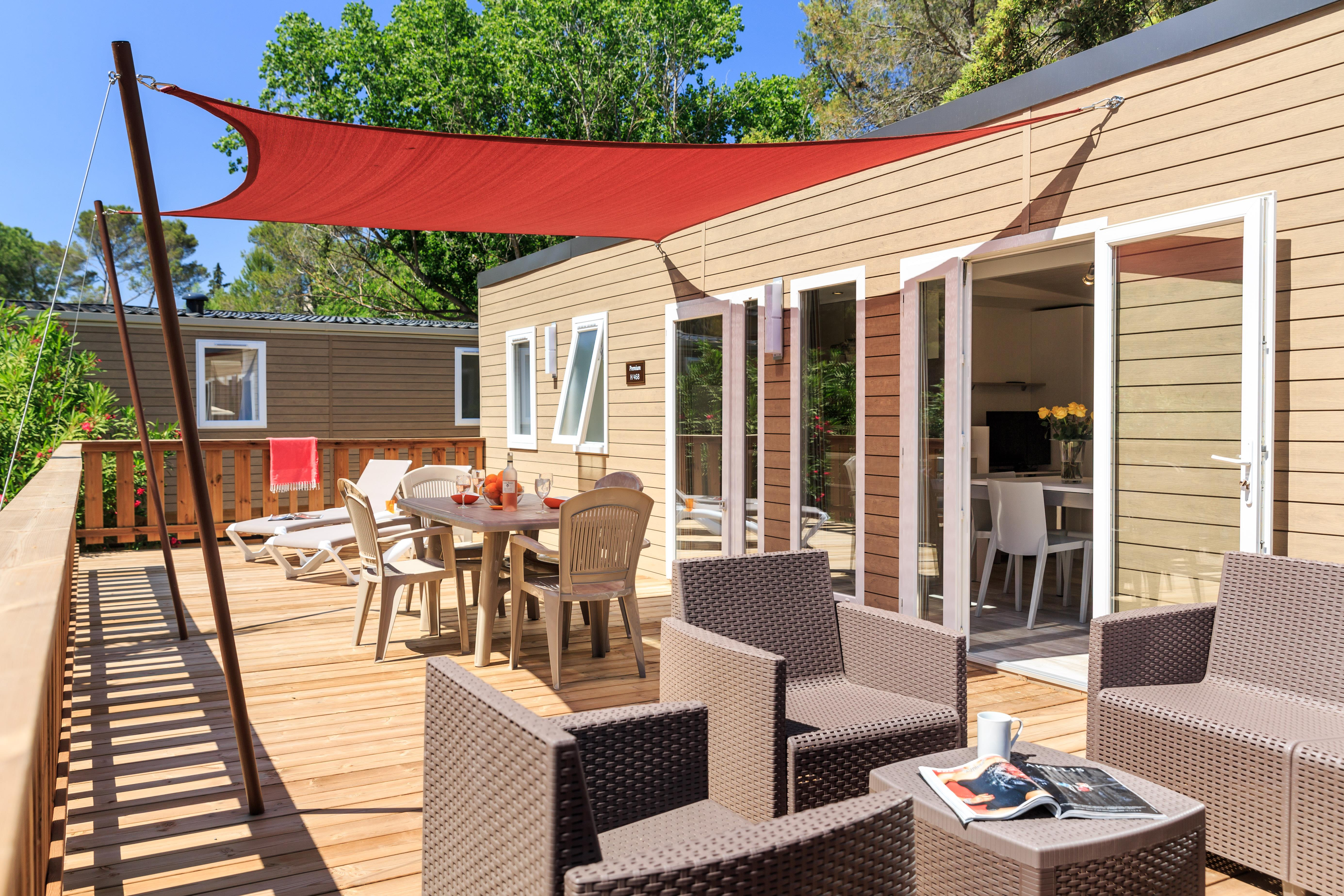 Location - Cottage Premium Luxe 40 M² - 3 Chambres + 2 Salles De Bains +  Clim Et Tv + Terrasse Panoramique - Camping Holiday Green