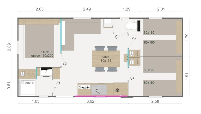 Mobil-Home Grand Large  3 Chambres