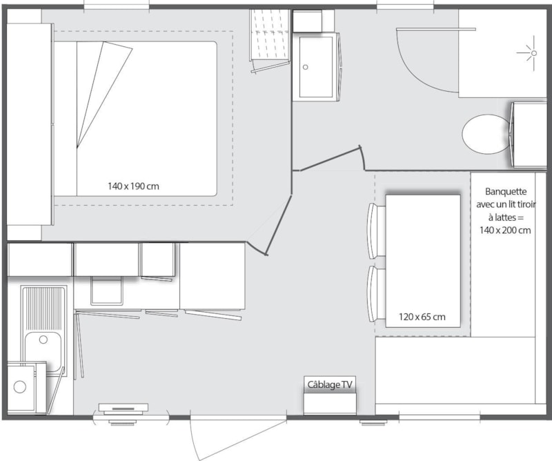 Mobil-Home Grand Confort VIOLET 20m² 1ch. – 2/3pers. (8/9)