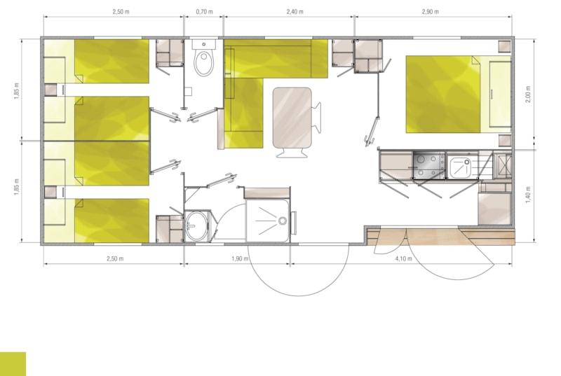 Mobil-Home Privilège ARGENT 35m² 3ch. - 6pers. - CLIM – LV (8/9)