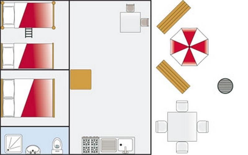 Tente Lodge 27m² 2ch. – 5pers. (8/9)