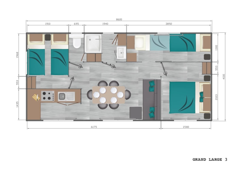 Mobil-Home Privilège OR 34m² 3ch. - 6pers. - CLIM (2/11)