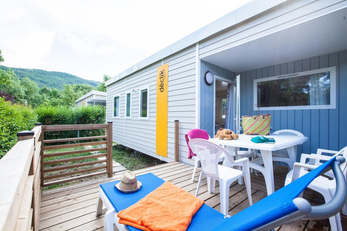 Location - Mobil-Home Grand Confort Noir 27M² 3Ch. - 6Pers. - Ardèche Camping