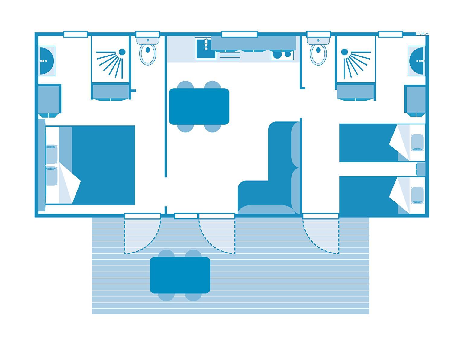 Location - Cottage 2 Chambres - 2 Salles De Bain - Climatisation **** - Camping Sandaya Les Alicourts Resort