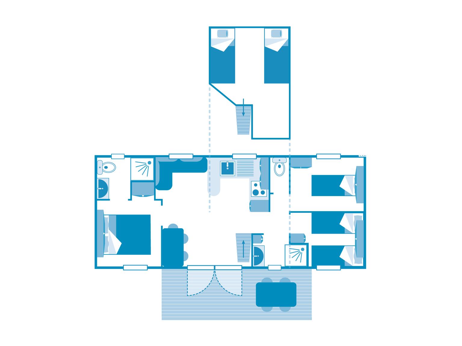 Location - Cottage 3 Chambres - 2 Salles De Bain - Climatisation **** - Camping Sandaya Les Alicourts