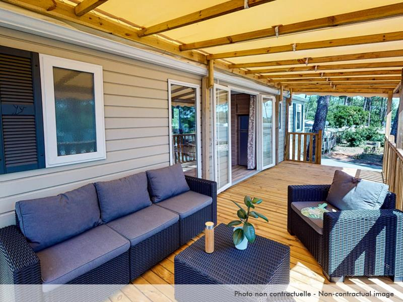 Location - Mobil Home Excellence 3 Chambres Terrasse Et Climatisation - Camping Caravaning Domaine de Dugny