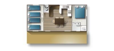Location - Mobil-Home 35M² Avec Tv - 3 Chambres - - Camping L'Étang des Haizes