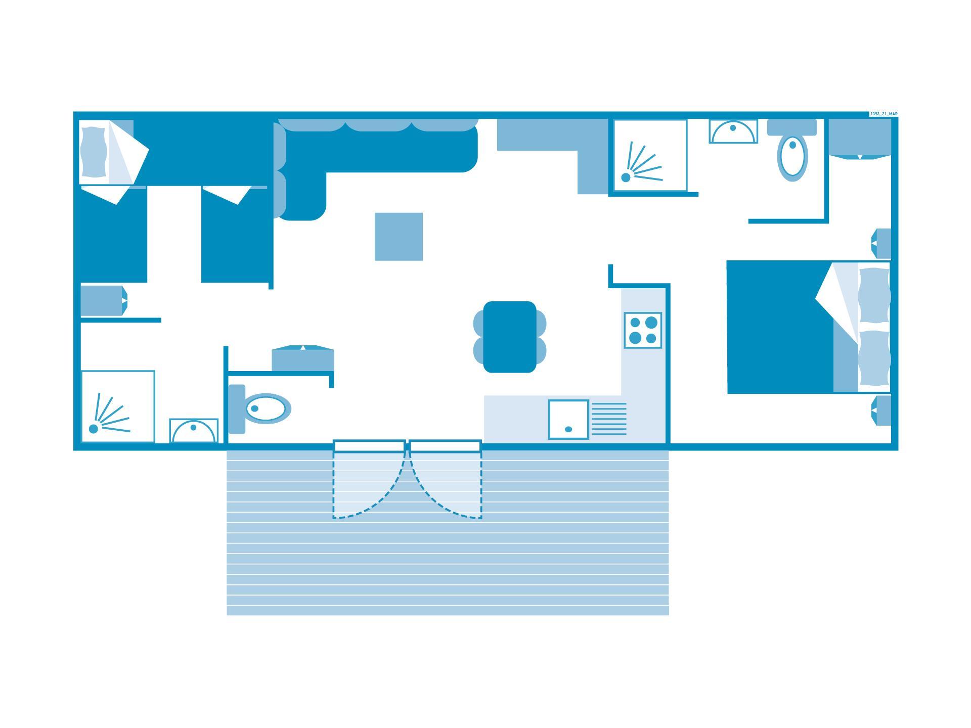 Location - Cottage 2 Chambres 2 Salles De Bain **** - Camping Sandaya Le Château des Marais