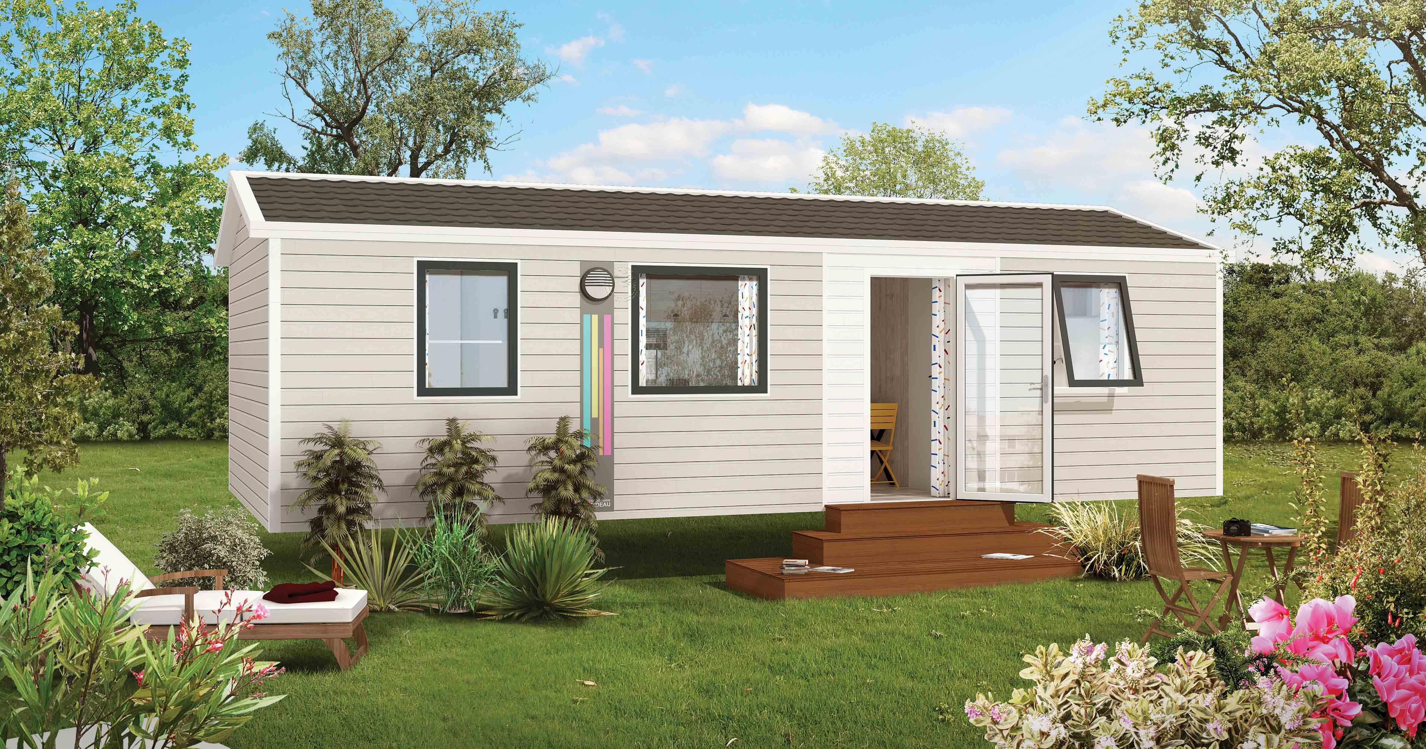 Location - Mobile Home Nirvana Duo 32M² Avec Terrasse Semi Couverte - Camping Le Panoramic