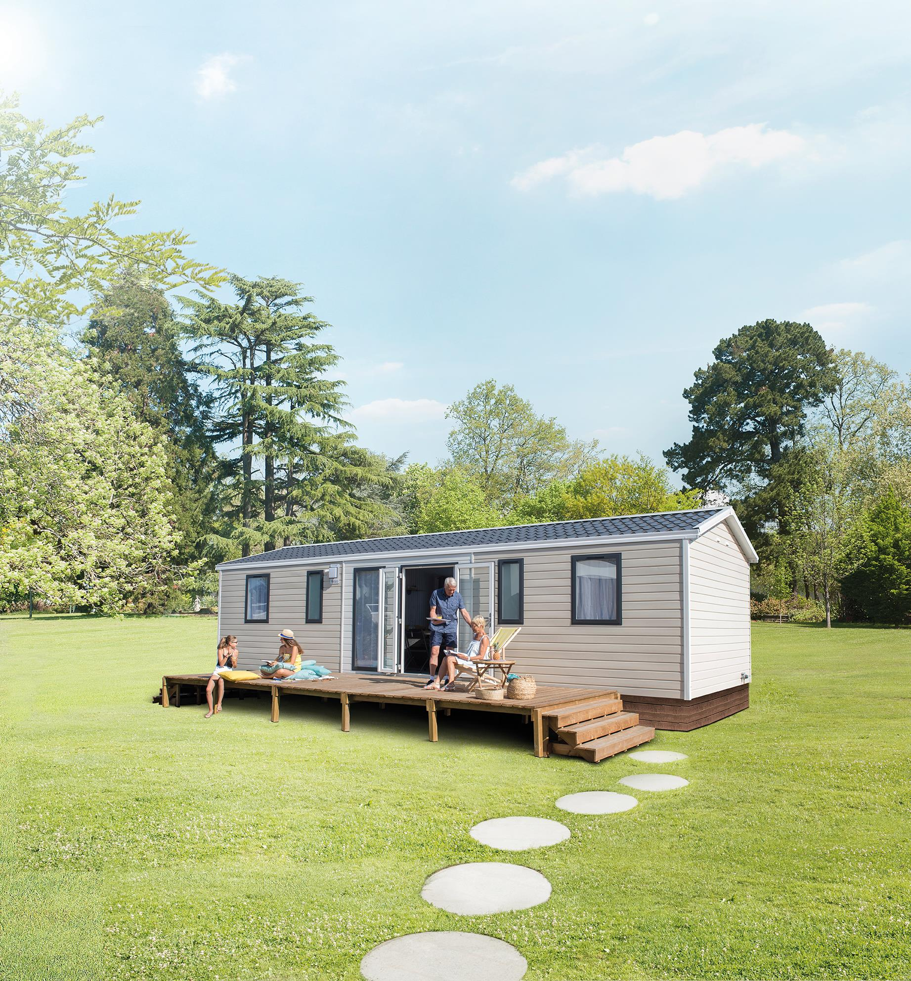Location - Nouveaute 2019  Mobile Home Quattro 40M² Avec Terrasse Semi Couverte - Camping Le Panoramic