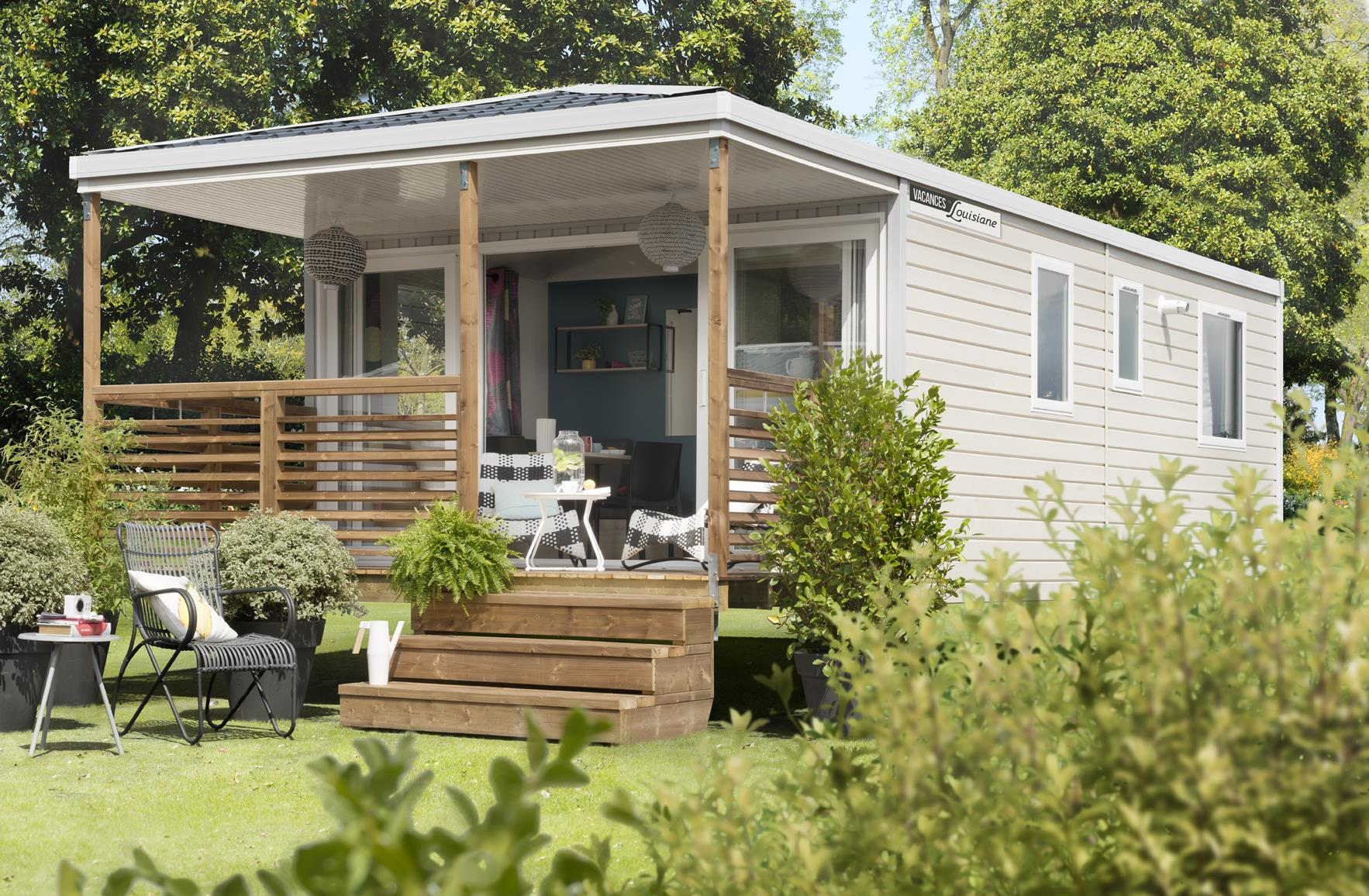 Location - Mobil Home Ciela Confort Bay - 26M² - 2 Chambres - Climatisation - Tv - Camping Les Marsouins