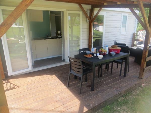 Location - Mobil-Home  Super Mercure Riviera 32M² (2 Chambres) Dont Terrasse Couverte - Camping Domaine Naturiste des Lauzons