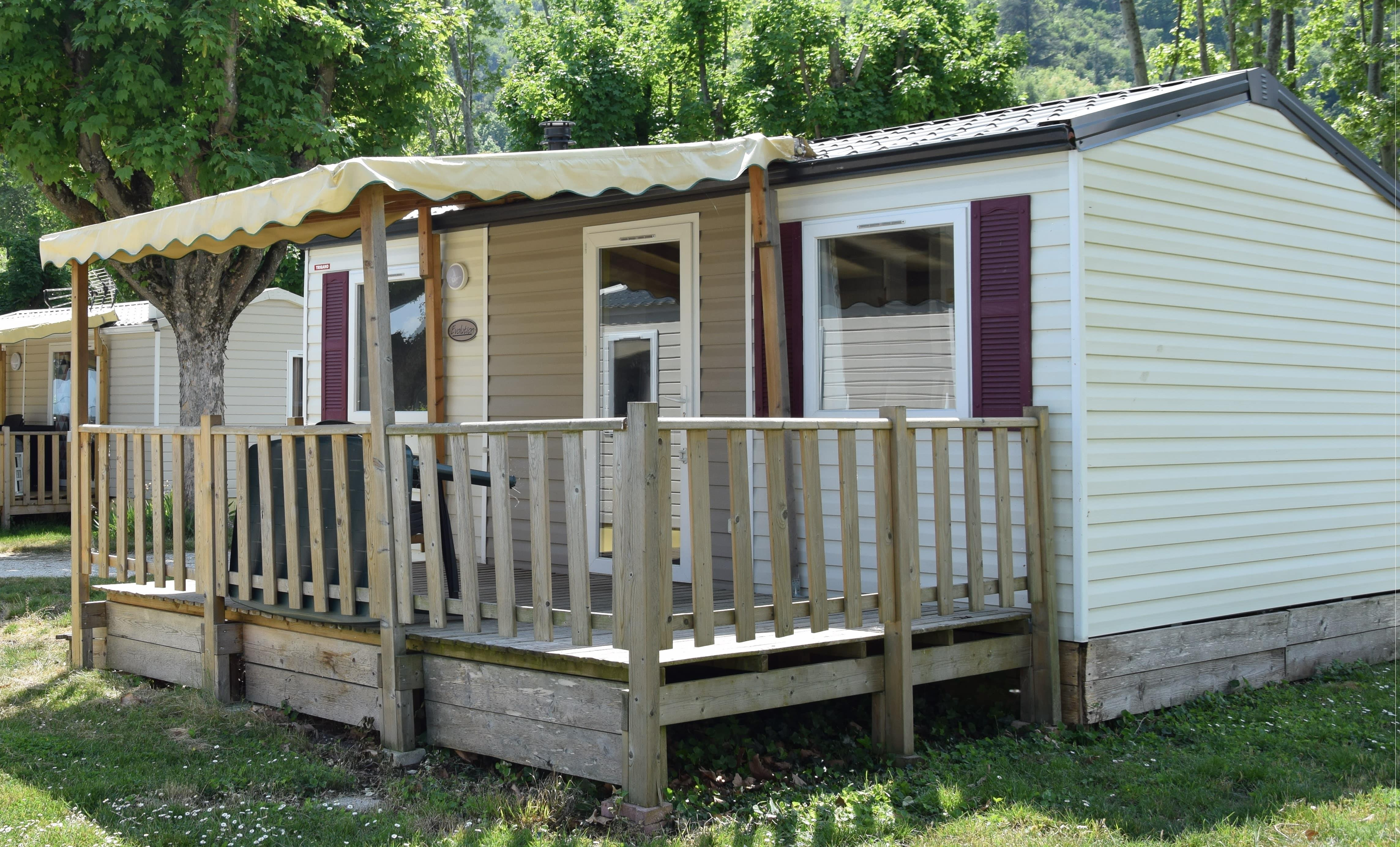 Mietunterkunft - Mobilheim 25 M2, 2 Bedrooms, Bathroom And Toilets Separated, With Decking And Air-Conditioning - Camping Le Rhône
