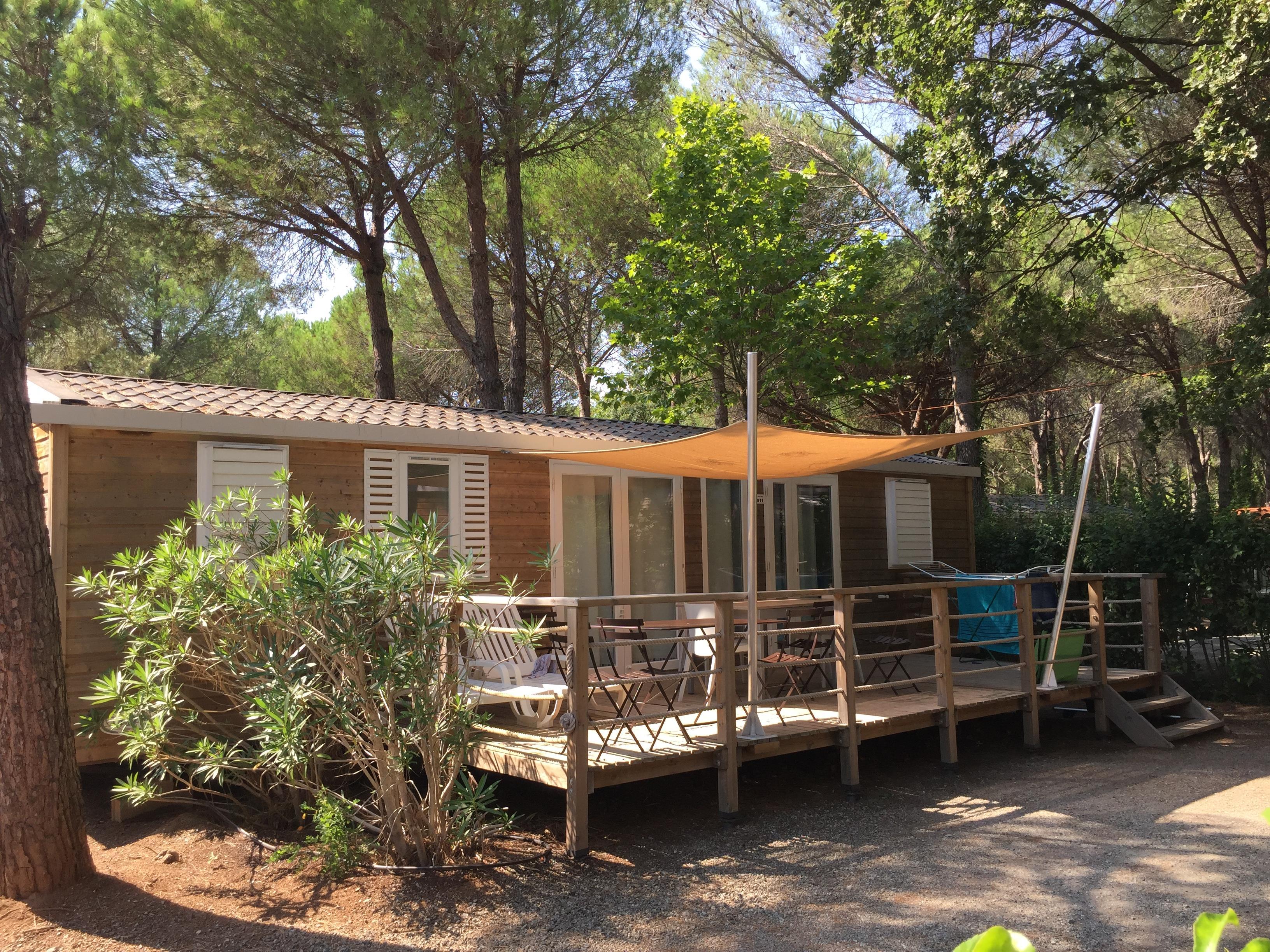Location - Mobil-Home Acajou 40 M² -  3 Chambres /2 Salles De Bain - Camping La Baume La Palmeraie