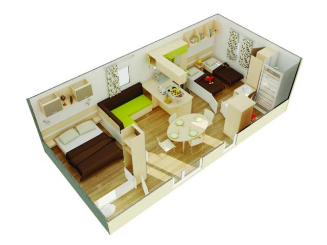MOBIL-HOME PRIVILEGE FLORES 2 - 2 bedrooms + Sofabed 1/4 pers.?q=100