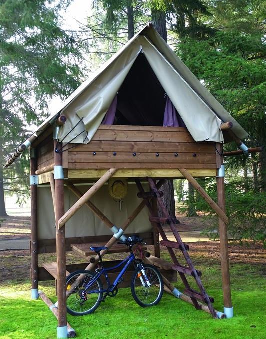 Location - Bivouac (Tente Perchée Sur Pilotis) 1 Chambre Lit Double 2P - Camping Mas de Champel