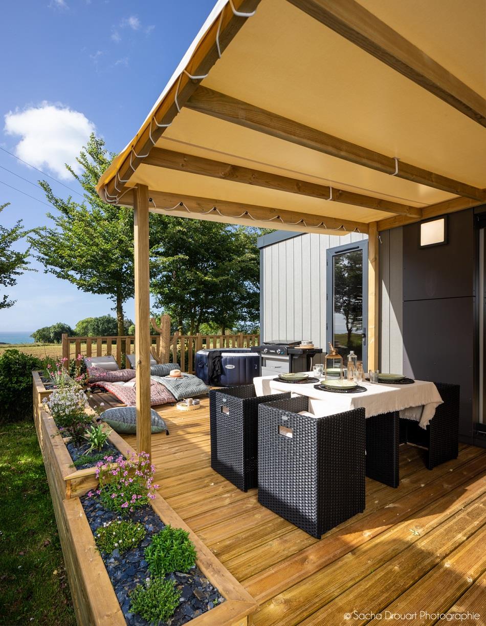 Location - Mobilhome Taos Premium 2 Chambres, 2 Salles De Bain, Spa Privé, Vue Mer - Camping Sites et Paysages Bellevue