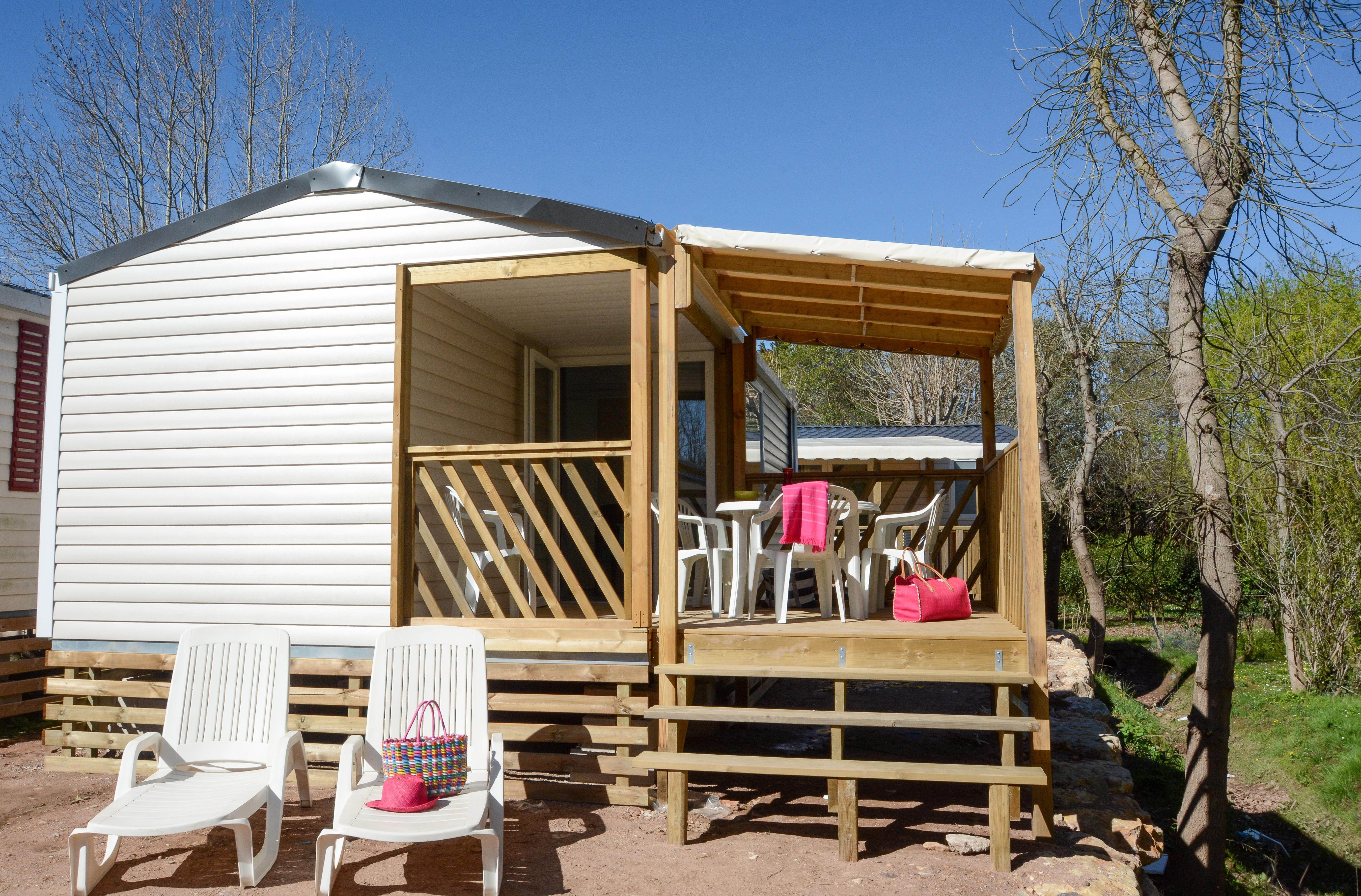 Location - Mobile Home Loggia / 2 Chambres - Terrasse En Bois Integrée + Climatisation - Camping Les Pêcheurs