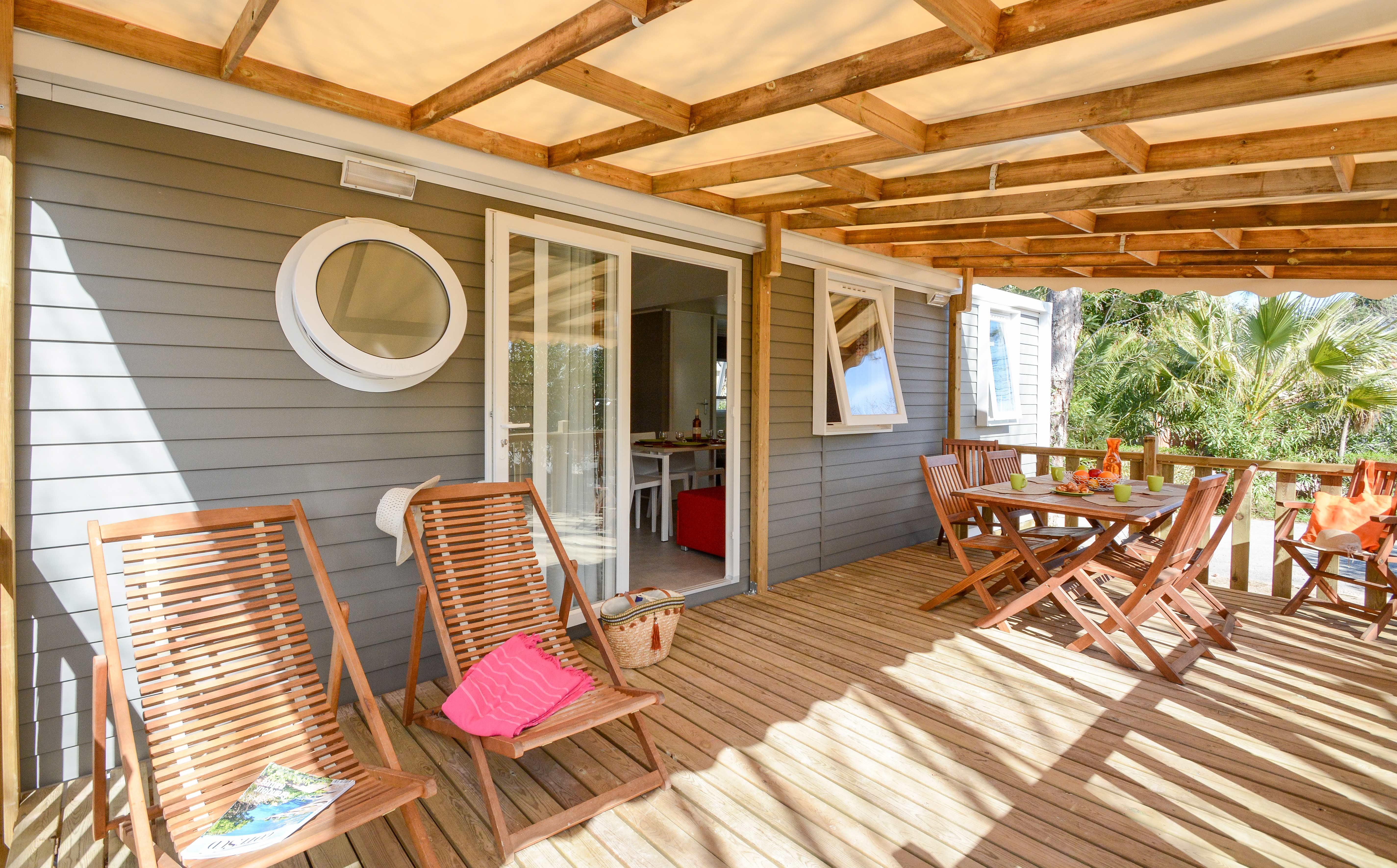 Location - Mobile Homes Cottage Familial  2 X  3 Chambres - Terrasse Bois - Communiquant / 2X32m² - Camping Les Pêcheurs