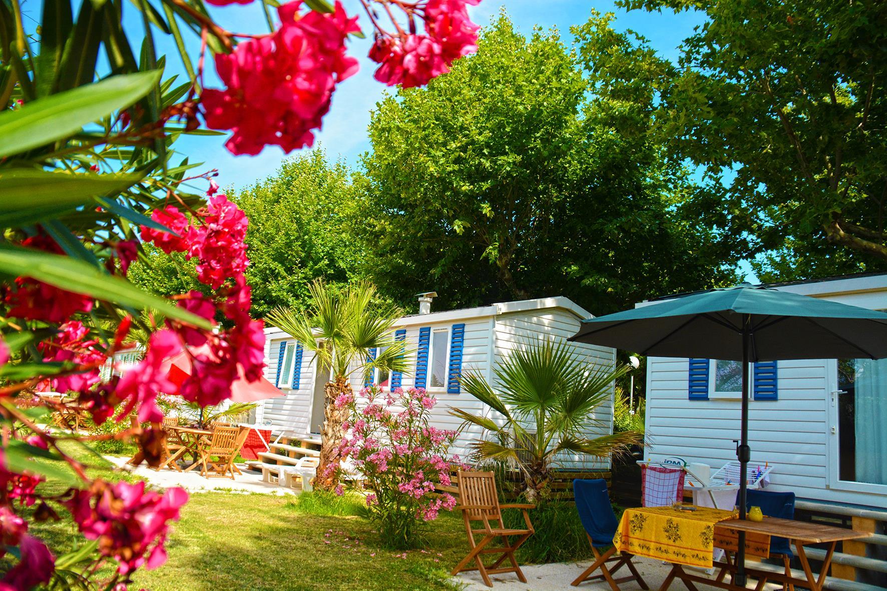 Location - Mobil Home Azurea 22M² / 2 Chambres - Terrasse Au Sol + Climatisation - Camping Les Pêcheurs