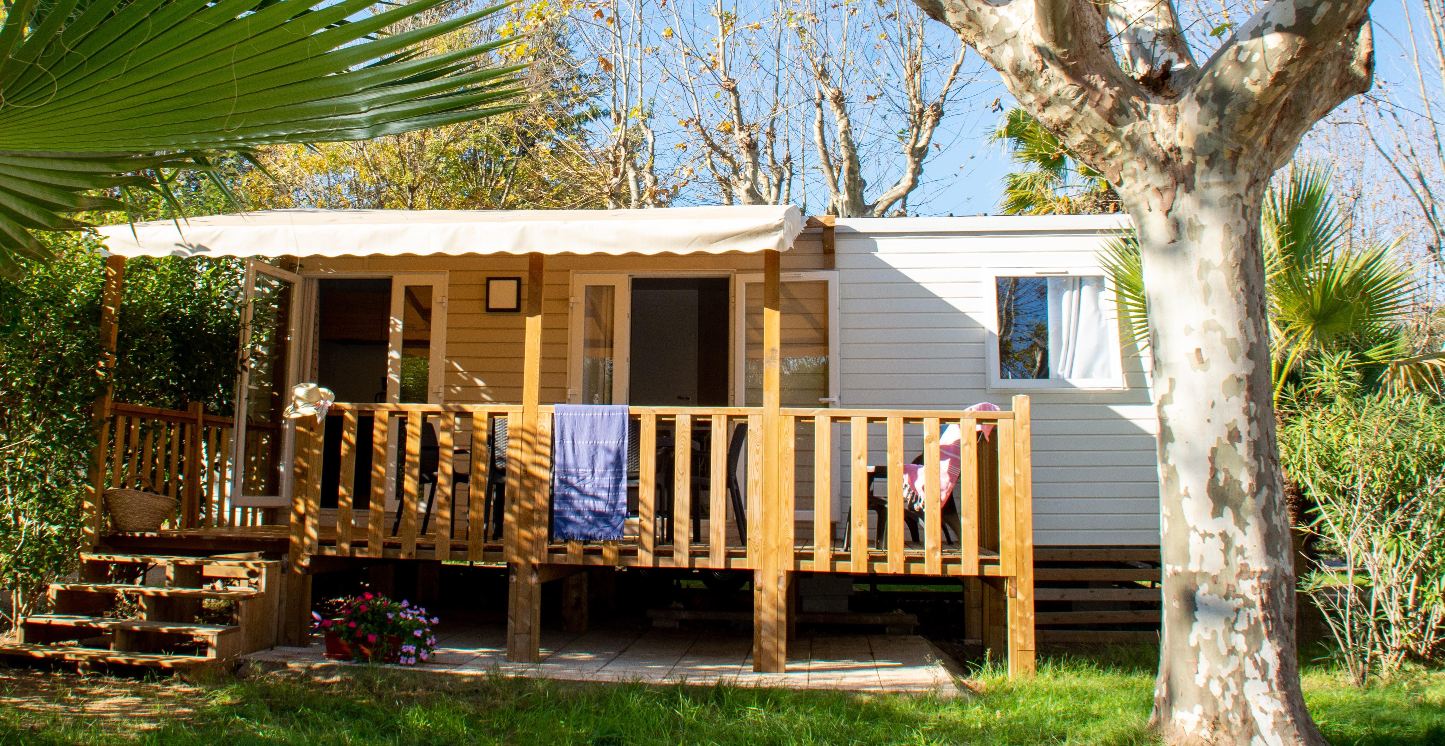 Location - Mobil Home Cosy 32M² /2 Chambres - Terrasse En Bois + Climatisation / Lave Vaisselle 2021 - Camping Les Pêcheurs