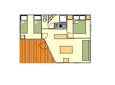 Accommodation - Chalet 2 Bedrooms 35 M² Sunday/Sunday - CAMPING LES CLOS