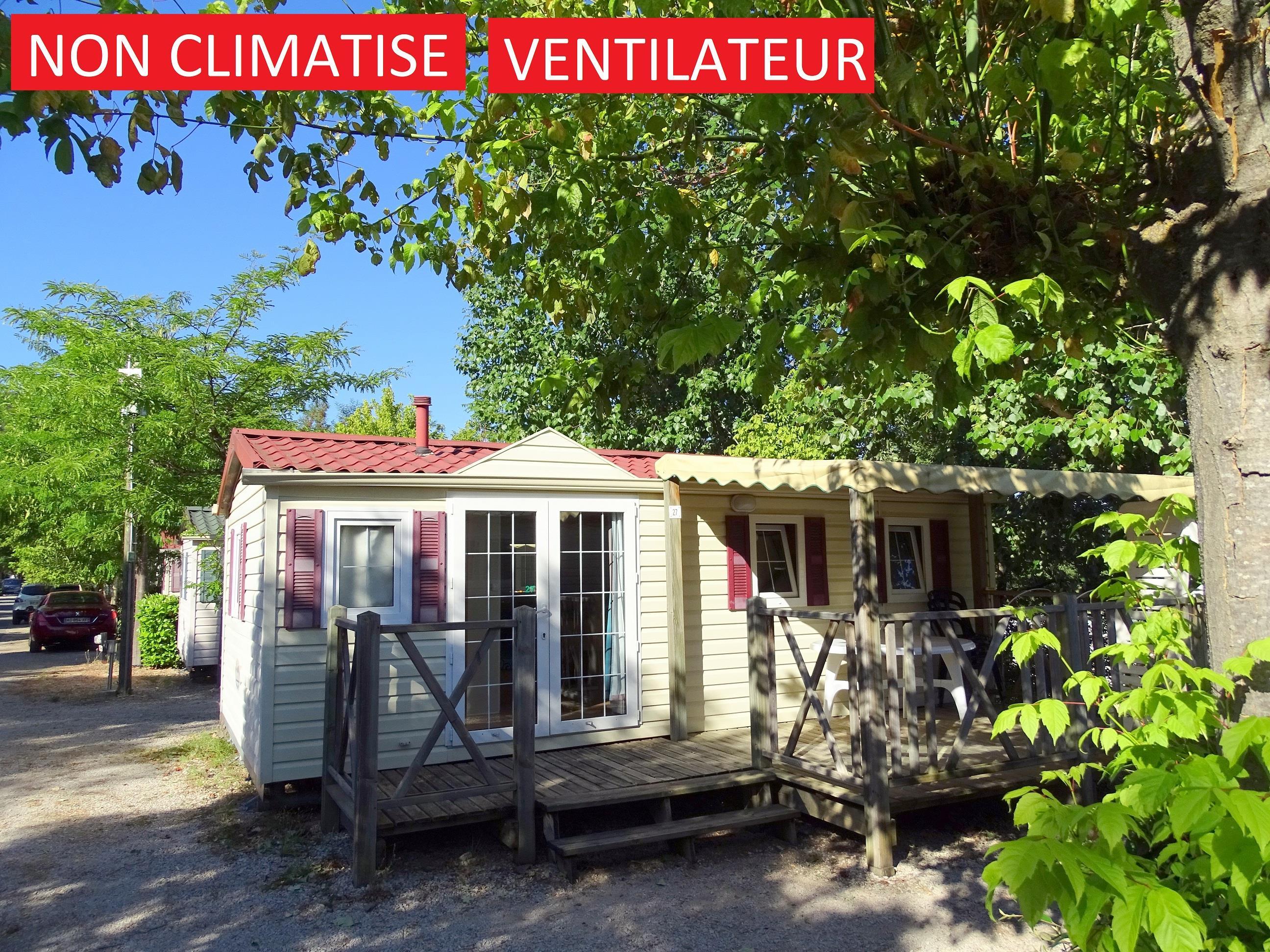 Location - Mobilhome Manon 28 M² (+10 Ans) Avec Ventilateur- 2 Chambres - Terrasse 15M² - Camping La Pinède