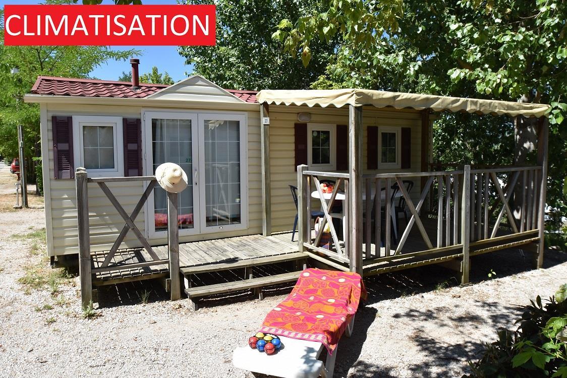 Location - Mobilhome Zola 28M² +10 Ans Climatisé 2 Chambres - Terrasse 15M2 - Camping La Pinède